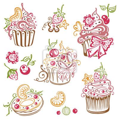 Bild Geburtstag Kaffee Kuchen Muffins Vektor Set
