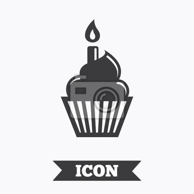 Geburtstag Kuchen Zeichen Symbol Brennende Kerze Symbol