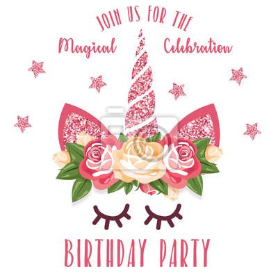 Geburtstags Party Einladung Mit Einhorn Leinwandbilder Bilder