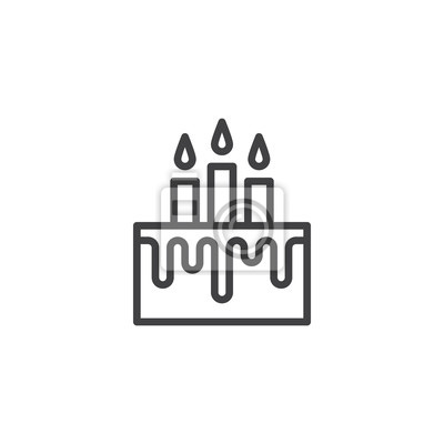Geburtstagskuchen Mit Kerzen Zeichnen Ikone Entwurfsvektorzeichen