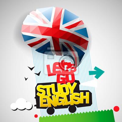 Gehen wir Englisch lernen Hintergrund, Vektor-Illustration eps10.