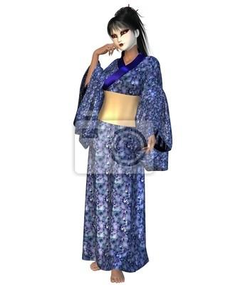 Geisha im Kimono Blaue Blume