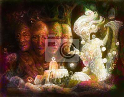 Geistiger heiliger Baum von vier Gesichtern, Fantasie bunte Anstrichcollage