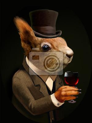 Bild Gekleidet Eichhörnchen Mit Glas Wein Und Top Hat