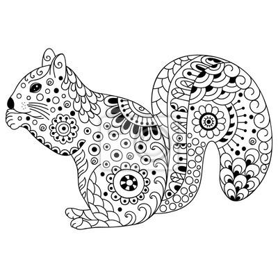 Gekritzel Stilisiertes Eichhörnchen Skizze Zum Einfärben Von