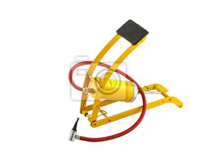 Gelbe Fuß Luftpumpe auf weißem Hintergrund
