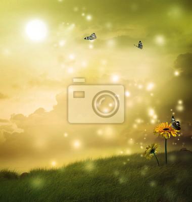 Gelbe Gerbera mit Schmetterlingen in einer Fantasy-Hügel