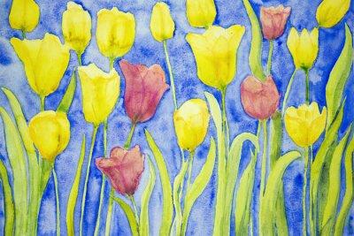 Bild Gelbe und rote Tulpen auf einem blauen Hintergrund. Die dabbing-Technik in der Nähe der Kanten ergibt einen Weichfokus-Effekt aufgrund der veränderten Oberflächenrauhigkeit des Papiers.