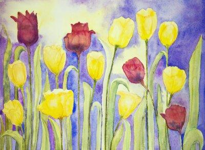 Bild Gelbe und rote Tulpen auf einem lila und gelben Hintergrund. Die dabbing-Technik in der Nähe der Kanten ergibt einen Weichfokus-Effekt aufgrund der veränderten Oberflächenrauhigkeit des Papiers.