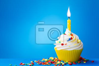 Gelber Geburtstag Cupcake Leinwandbilder Bilder Blauem Hintergrund