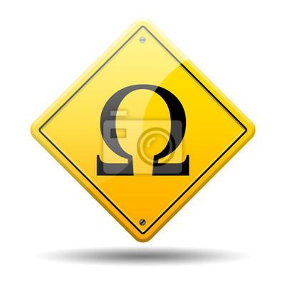 Gelbes Schild Zeichen Omega