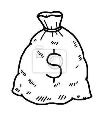 Bild: Geld tasche cartoon vektor und illustration, schwarz und weiß,