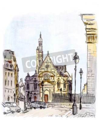 Bild Gemälde der Straße der europäischen Stadt, Paris, Aquarell