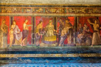 Bild Gemalte Wand in Pompeji Stadt zerstört in 79BC durch den Ausbruch des Vesuvs
