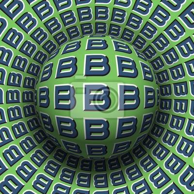Gemusterte Kugel der Buchstaben B, die auf drehende Oberfläche rollt. Abstrakte Abbildung der optischen Illusion des Vektors. Bewegungshintergrund.