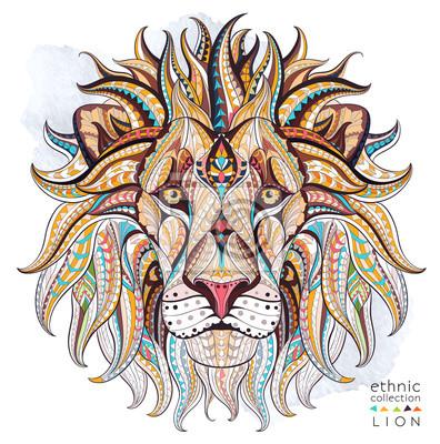 Bild Gemusterten Kopf des Löwen auf dem Grunge-Hintergrund. Afrikanisch / indisch / Totem / Tätowierungentwurf. Es kann für die Gestaltung eines T-Shirt, Tasche, Postkarte, ein Poster und so weiter verwend