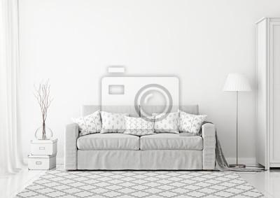 Gemutliche Skandinavischen Stil Wohnzimmer Innenraum Mit Grauen
