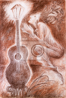 Gentle dreamy fairy poet crawing a guitar light, fantasy detail