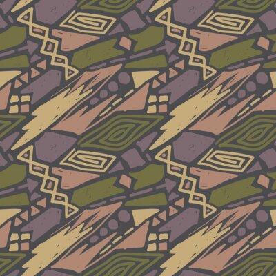 Bild Geometric creative seamless pattern, childish style wallpaper design. Japanese scribble colorful ornament textile template.