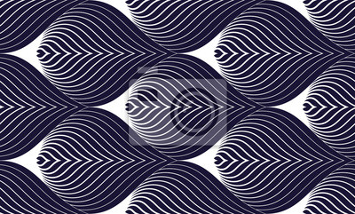 Geometric seamless pattern, abstract tiling background, vector repeat endless wallpaper illustration. Roof tiling or fish squama shapes motif. Single color, black and white.