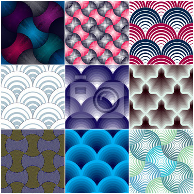 Geometric seamless patterns set, abstract tiling backgrounds collection, colorful vector repeat endless wallpaper illustrations. Overlapping circles, Roof tiling or fish squama shapes,