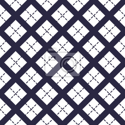 Geometric vector seamless pattern with crossed lines, abstract background. Simple minimalistic black and white design. Single color, black and white.