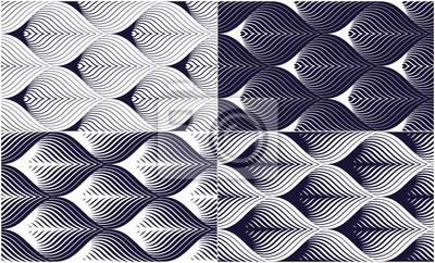 Geometrische nahtlose Muster stellten, abstrakte Tilingshintergrundsammlung, endlose Tapetenillustrationen der Vektorwiederholung ein. Floral Blätter oder Fisch Squama Formen trendige Motiv. Einfarbig