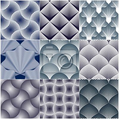 Geometrische nahtlose Muster stellten, abstrakte Tilingshintergrundsammlung, endlose Tapetenillustrationen der Vektorwiederholung ein. Überlappende Kreise, Dachziegel oder Fischschuppenformen