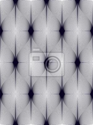 Geometrisches nahtloses Muster, abstrakter Tilingshintergrund, endlose Tapetenillustration der Vektorwiederholung. Wellenförmige Kurve formt modisches Wiederholungsmotiv. Einfarbig, schwarz und weiß.