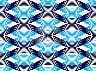 Geometrisches nahtloses Muster, abstrakter Tilingshintergrund, endlose Tapetenillustration der Vektorwiederholung. Wellenförmige Kurve formt modisches Wiederholungsmotiv. Verwendbar für Stoff, Tapete,