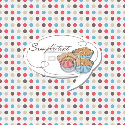 gepunktete Hintergrund mit Kuchen-Etikett, Vektor-