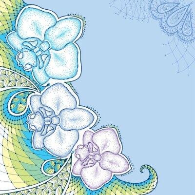 Bild Gepunktete Motte Orchidee oder Phalaenopsis mit dekorativen Spitze in Pastellfarben auf dem blauen Hintergrund. Florale Elemente in dotwork Stil.