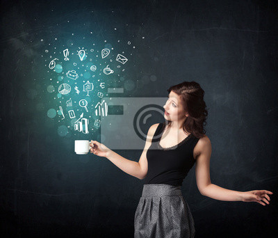 Bild Geschäftsfrau, die eine weiße Tasse mit Business Symbole