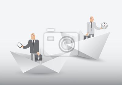 Geschäftsleute stehen in Origami-Formen