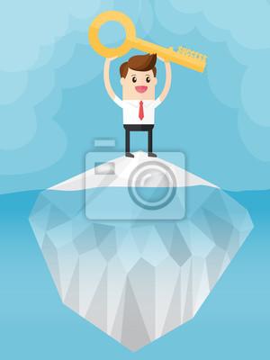 Bild Geschäftsmann, der auf den Eisberg steht und goldenen Schlüssel, Schlüsselwort des Erfolgsgeschäftskonzeptes trägt