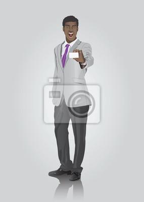 Geschäftsmann, der weiße Karte