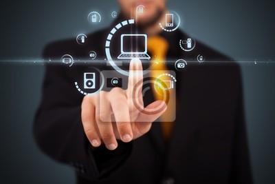 Geschäftsmann Drücken Virtual Media Art der Tasten