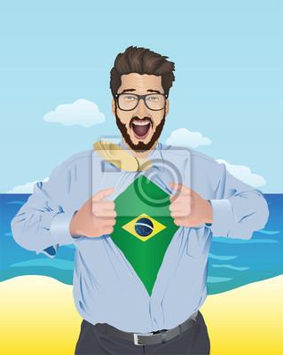 Geschäftsmann Eröffnung Shirt, brasilianischen Flagge zeigen