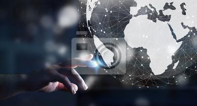 Bild Geschäftsmann mit digitalen taktilen Welt-Schnittstelle mit seinem Finge