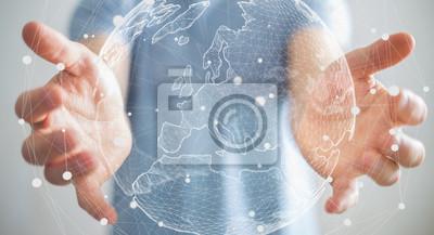Bild Geschäftsmann mit globalen Netzwerk auf Planeten Erde 3D-Rendering
