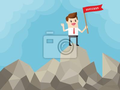 Bild Geschäftsmann mit roter Fahne auf der Oberseite des Berges. Der Preis des Erfolgs ist harte Arbeit