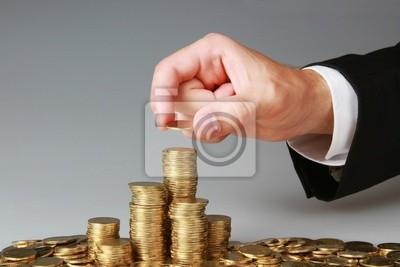Geschäftsmann Stapeln Münzen