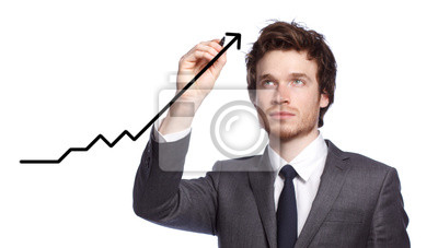 Geschäftsmann Zeichnen einer Grafik