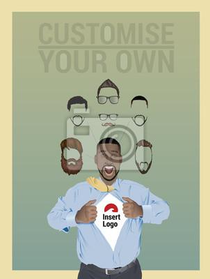 Geschäftsmann zieht offenem Hemd, um Ihr Logo zeigen