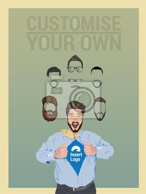Geschäftsmann zieht offenen Hemd zu offenbaren Logo