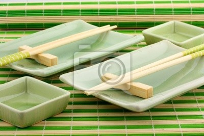 Geschirr für eine Sushi, das japanische Mahlzeit