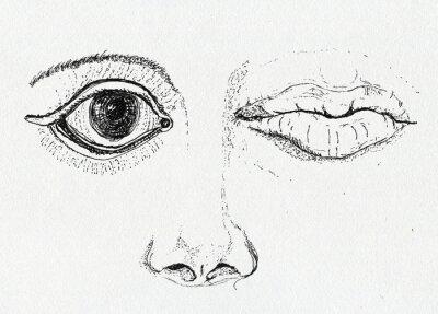 Bild Gesicht, Kunst Metapher, Federzeichnung auf Papier Textur