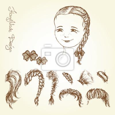 Gesicht Und Frisur Mädchen Mit Der Hand Vektor Illustration