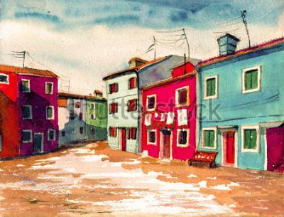 Bild Gestaltungsarbeits-Textilmuster-Segeltuchhintergrund der berühmten italienischen italienischen Insel helle farbige Häuser Aquarellmalerei Illustrationsplakat Hand