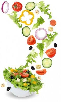 Bild Gesund vegetarisch Essen Salat mit Tomate, Gurke, Zwiebel und Pa